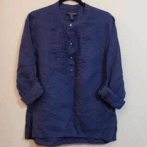 Cynthia Rowley-Navy Blue Linen Popover Top
